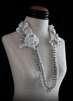 NIGHTS in WHITE SATIN White Silver Bridal Collar by carlafoxdesign, $375.00