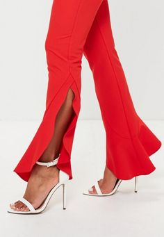 Red Asymmetric Draped Frill Cigarette Trousers - Missguided
