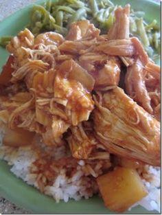 Hawaiian BBQ Chicken recipe for the crock-pot. I love crock pot recipes! Crock Pot Recipes, Crock Pot Cooking, Slow Cooker Recipes, Chicken Recipes, Bbq Chicken, Cooking Recipes, Healthy Recipes, Boneless Chicken, Pulled Chicken