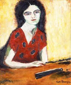 Kees Van Dongen (1877-1968), Femme à l'éventail, huile sur toile, 55,2 x 46 cm.