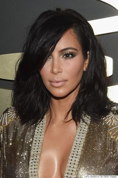 Kim Kardashian West glowed like a goddess with her fresh lob haircut, gold eyeshadow and nude lipstick.