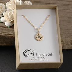 Oh the places you'll go, compass necklace perfect graduation gift, new job, travel, college, goodbye gift, milestone, etc.... Oh the places you will go, jewelry, gold compass