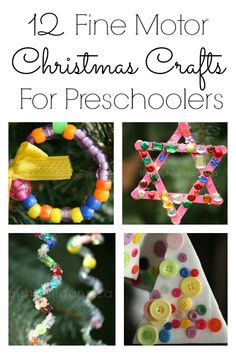 12 Fine Motor Christmas Crafts for Preschoolers. Buttons, beads, threading, lacing, crumpling, wrapping, winding and more! - Happy Hooligans