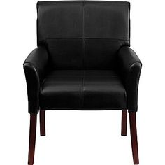 Flash Furniture Leather Executive Side Chair/Reception Chair with Mahogany Legs, Black