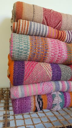 Bohemian and colourful vintage Peruvian Blanket. Material: It has been hand-woven from hand-spun alpaca and sheep wool using a traditional back