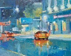 "Daily Paintworks - ""Taxi Blues"" - Original Fine Art for Sale - © Emiliya Lane"