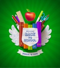 Buy Back to School by Sergo on GraphicRiver. Back to school – vector coat of arms with stationery items. Free Vector Backgrounds, Free Vector Graphics, Eps Vector, Free Icons Png, Free Website Templates, Wings Design, Free Infographic, Stationery Items, Vector Free Download