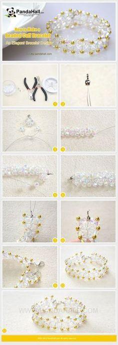 Jewelry Making Tutorial-How to Make a Beaded Cuff Bracelet   PandaHall Beads Jewelry Blog