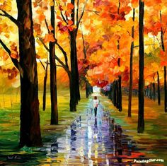 Yellow rain Artwork by Leonid Afremov Hand-painted and Art Prints on canvas for sale,you can custom the size and frame