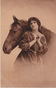 Amazing Antique Photograph of a Horse and Woman.