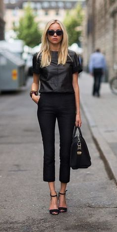 all black street style. leather top.