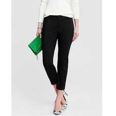 """Banana Republic Black Cropped Sateen Pants This stunning pair of Banana Republic cropped sateen pants is office or occasion ready. Measurements lying flat: 17 1/2"""" waist, 21 1/2"""" hip, 25 1/2"""" inseam. Fabric is 98% cotton with 2% spandex for slight stretch. Please note that the cover shot is for styling purposes only; the pants for sale are shown in picture #2, 3 and 4. In excellent condition with no holes, stains or tears. Worn a few times. Please ask questions before purchase as all sales…"""