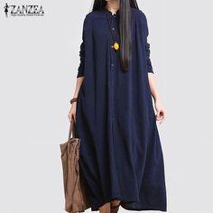 04f6cf2a43a ZANZEA Vintage Women Fall Long Sleeve Cotton Linen Pockets Buttons Solid  Long Shirt Dress Party Cocktail Midi Vestido Plus Size