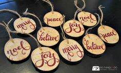 Homemade Ornaments - cut up a tree branch and make rustic ornaments or use them as gift toppers!