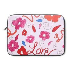 """"""" Love Blooms"""" Laptop Sleeve ($50) ❤ liked on Polyvore featuring accessories, tech accessories, padded laptop case, laptop sleeve cases, laptop case and laptop zip case"""
