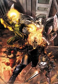The Marvel Knights...Moon Knight, Punisher, Ghost Rider, Elektra, and Iron Fist