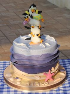 Penguins of Madagascar Cake