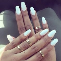 Tag For White : 26 Winter Acrylic Nail Designs Ideas Design Trends coffin nails matte white - Coffin Nails White Coffin Nails, White Acrylic Nails, White Nail Art, White Manicure, Matte White Nails, White Acrylics, Fake Nails White, White Summer Nails, Rounded Acrylic Nails