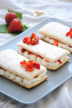 Mille-feuille with strawberries and pistachios