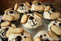 puppy cupcakes with mini milano ears! Will be on our list of cupcakes to make perhaps for Lady Dogs bday Dog Themed Parties, Puppy Birthday Parties, Puppy Party, Dog Birthday, Birthday Party Themes, Birthday Ideas, Cupcake Day, Cupcake Cakes, Car Cakes