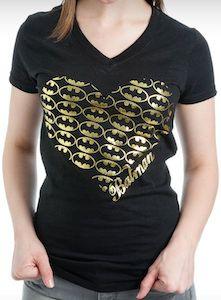 Batman Foil Logo Hearts T-Shirt.