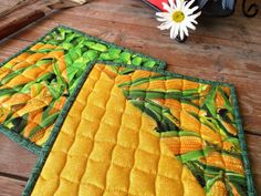 Summer Quilted Potholders, Veggie Hot Mats, Green Yellow Baking Mats, BBQ Picnic Food Mat, Hot Pads, Corn and Cukes Potholders, Table Mats