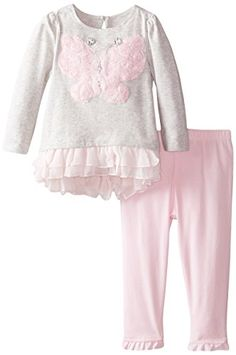 Nannette Baby Girls Chiffon Tunic Top with Butterfly Applique and Legging Gray 12 Months * Click image to review more details.