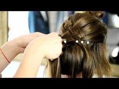 Coafura de mireasa - coc, impletitura si breton ondulat cu Oksana - YouTube