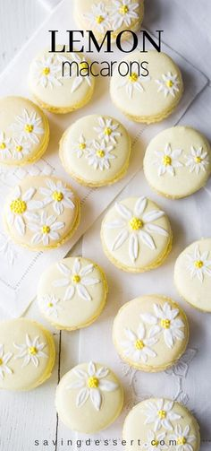 Lemon Macarons - brighten your day with these delicious cookies decorated with a few brushstrokes of royal icing and sprinkles to help usher in the first warm days of spring. Cheesecake Cookies, Meringue Cookies, Yummy Cookies, Lemon Cookies, Shortbread Cookies, Sugar Cookies, French Macaroons, Italian Macarons, Nutella Macaroons