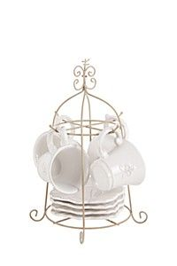 Fleur de lis embossed tea set with beveled edge. Adds a soft, feminine touch to any dining setting. Perfect for everyday use. This classic dolomite tea set includes 4 cups, 4 saucers and stand. Dishwasher and microwave safe. Home Decor Online, Tea Set, Home Furniture, Place Card Holders, Dining, Microwave, Dishwasher, Shopping, Kitchen Ideas