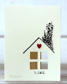 I used the tree stamp from Penny Black Spotted Winter - Rapport från ett skrivbord: Less is Z Cards, Some Cards, Craft Cards, Baby Cards, Housewarming Card, New Home Cards, Window Cards, Card Making Inspiration, Creative Cards