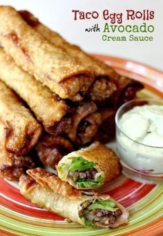 Crispy egg rolls filled with seasoned ground beef, green chilies and cheese. Served with a creamy avocado dipping sauce.