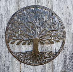 Steel Drum Organic Tree of Life Recycled Metal Art from Haiti , X