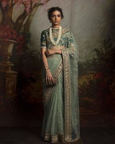 Light green net sari paired with embroidered forest green blouse - Sabyasachi 2016 Sabyasachi Sarees, Red Lehenga, Indian Sarees, Lehenga Choli, Anarkali, Pakistani, Indian Attire, Indian Ethnic Wear, Indian Dresses