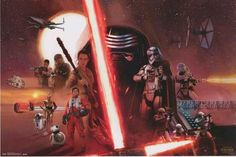 An awesome Star Wars: The Force Awakens character poster! Kylo Ren, Finn, Rey, and all the rest from both sides of The Force. Fully licensed. Ships fast. 22x34