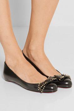 Christian Louboutin - Ballalarina Bow-embellished Leather Flats - Black - IT41.5