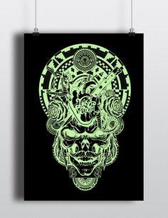 LE Juicy Venom Ebony and Light Green Skull Screen Print