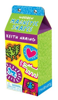Mudpuppy's Keith Haring Wooden Magnetic Shapes are a fun accessory for any space with magnetic surfaces and perfect for any home with an appreciation for art. Packaged in a playful milk carton box, ea