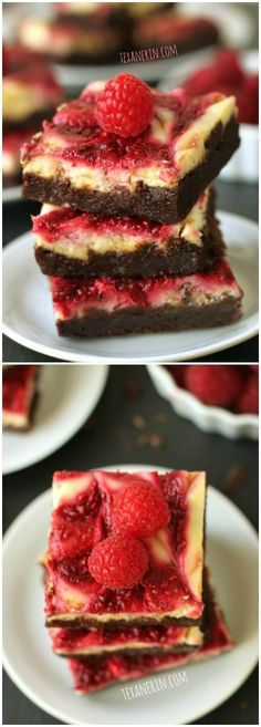 These raspberry cheesecake swirl brownies are a healthier version of the famous brownies from Baked! #wholewheat #wholegrain