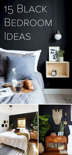 Despite the widespread belief that black walls make spaces appear smaller, a dark bedroom can actually feel very calm, spacious, and sophisticated! You can use black as a base no matter what your style. Get inspo when you click through to Hunker. Dark Bedroom Walls, Dark Walls, Bedroom Black, Dark Bedrooms, Gothic Bedroom, Kids Bedroom, Bedroom Decor, Bedroom Ideas, Master Bedroom