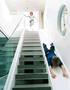 Sliding staircase. Good for kids - or laundry! : )