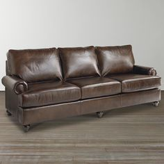 Custom Leather Montague Great Room Sofa by Bassett Furniture