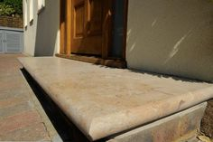 Bespoke Jura Limestone Steps with a Bullnose edge applied in-house by our stone masons at the Bespoke Stone Centre. Very smart! Front Porch Steps, Portland Stone, Kerb Appeal, Patio Slabs, Pool Coping, Stone Steps, Garden Steps, Entrance Ways, Butcher Block Cutting Board