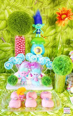 Trolls Party Ideas - Trolls Dessert Table