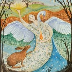 A beautiful Wendy Andrew Pagan & Wiccan Card celebrating Imbolc & The Goddess, Ideal to send to your loved ones! Fantasy Kunst, Fantasy Art, Yule, Lapin Art, Goddess Art, Goddess Pagan, Rabbit Art, Sabbats, Green Man