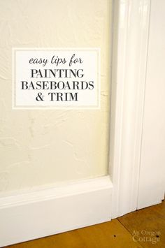 Painting baseboards and trim with touch-up paint is one of the best ways to refresh a room and make it sparkle before big events or preparing to sell. Decorating Blogs, Home Projects, Remodel, Touch Up Paint, Home Remodeling, Interior Trim, Painting Baseboards, Room Paint, Painting Trim