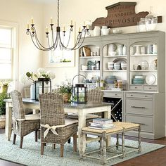 Dining Room :: Cream, Grey - Gray, with touches of Blue and White. Ballard Designs