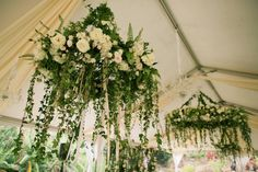 Gorgeous vine and flower adorned hanging chandeliers by Teresa Sena Design - Anna Kim Photography