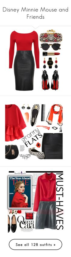 """Disney Minnie Mouse and Friends"" by yours-styling-best-friend ❤ liked on Polyvore featuring black, red, disney, mickeymouse, minnie, M&Co, Relaxfeel, Posh Girl, Alexander McQueen and Christian Dior"