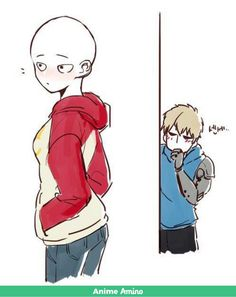 One Punch Man - Girl Saitama and Genos Anime Kiss, Anime One, Otaku Anime, One Punch Man Funny, One Punch Man Anime, Genos X Saitama, Ninga Turtles, Saitama One Punch Man, Accel World